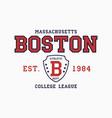 boston massachusetts t-shirt typography graphics vector image vector image