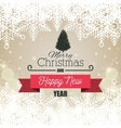 card greeting christmas with tree and banner vector image