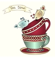 Card with tea cups and art birds vector image