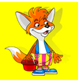 cartoon fox in shorts with a bucket vector image vector image