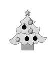 christmas tree pine star and balls decoration vector image vector image