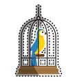 cute bird in cage mascot vector image vector image