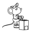cute mouse worker cartoon vector image