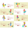 eight pics of shopping people vector image vector image