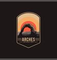 emblem patch logo arches national park vector image vector image