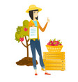 farmer with clipboard giving thumb up vector image vector image