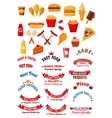 Fast food dishes and drinks icons for cafe design vector image vector image