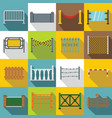 fencing icons set flat style vector image vector image
