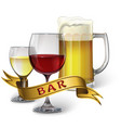 glass goblets with wine and beer and ribbon with vector image