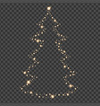 golden christmas tree with star transparent vector image