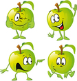 green apple cartoon with hand vector image
