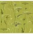 Green Seamless Vintage Pattern with Herbs and vector image