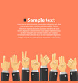 group of hands in the top vector image vector image