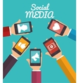 hand hold smartphone social media applications vector image vector image