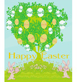 happy Easter bunnies carrying egg vector image vector image