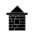 house brick icon black sign vector image