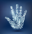 human hand in the form of a computer chip vector image vector image