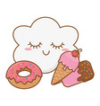 ice cream and ice lolly and donut vector image