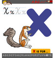 letter x with cartoon xerus vector image vector image