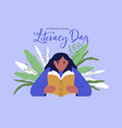 literacy day girl reading book green plant leaf vector image