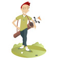 man play golf isolated vector image vector image