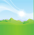 meadows and mountains on bright sunny day vector image