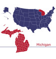 michigan counties with usa map vector image