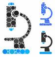 microscope mosaic icon circle dots vector image vector image