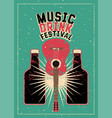 music and drink festival typography grunge poster vector image vector image