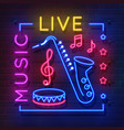 music neon sign glowing karaoke banner live vector image