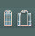 open and closed windows isolated woodens frames vector image vector image