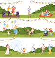 people performing leisure outdoor activities in vector image
