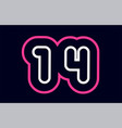 pink white blue number 14 logo company icon design