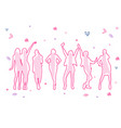 pink women silhouettes doodle cheerful and happy 8 vector image