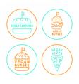 set linear vegan badges vector image vector image