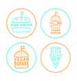 Set of linear vegan badges vector image vector image