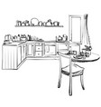 sketch of modern corner kitchen black pencil vector image