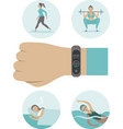 smart watch fitness band tracker concept vector image