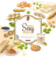 soy food products frame background vector image