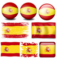 Spain flag in different design vector image vector image