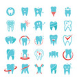tooth dental care logo icons set flat style vector image vector image
