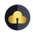 upload on cloud icon black circle background vector image vector image