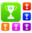 winner cup set collection vector image vector image