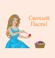 woman coloring eggs vector image