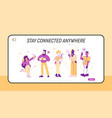 young people using gadgets website landing page vector image vector image