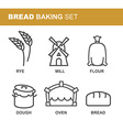 Bread baking set of icons Bread production line vector image