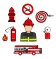 Fireman in uniform with firefighting equipments vector image