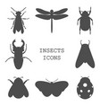 insects icons black set vector image