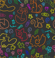 Doodle seamless pattern with foxes 1 vector image