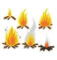 set of cartoon bonfires on white background vector image